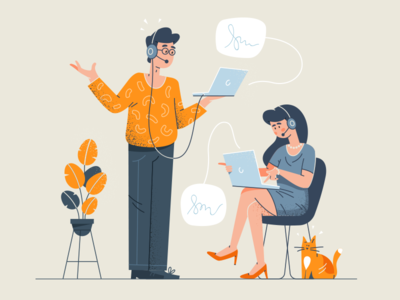 Call Center Support huliganio alexandrovi alexandrov conversation bubble chat plant cat service customer assistant help office business phone illustration support call call center fireart studio