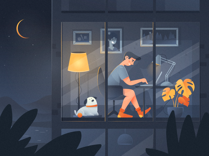 Night freelancer service busines calm man boy moon silence interior alexandrov dog night room work remote freelance illustrator illustratiom illustraor freelance fireart studio fireart