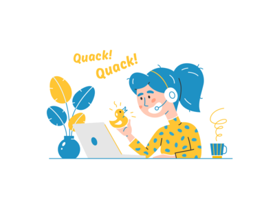 Quack! Quack! illustration tea work laptop yellow duck duck quack girl operator vector illustrator mobile phone customer service call center alexandrovi alexandrov fireart studio fireart