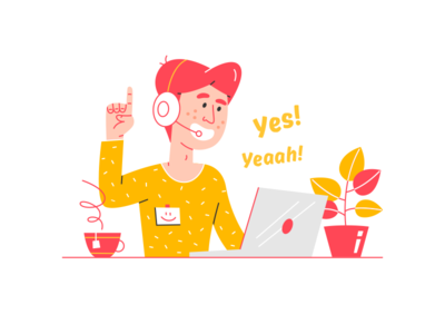 Yeaah! supporter support answer laptop customer phone man plant vector illustration operator provider service call call center alexandrovi alexandrov fireart fireartstudio