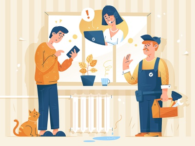 Service for solving utility problems radiator illustrator room cat worker work solve utility managment problem report call center assistant alexandrovi service character vector huliganio alexandrov illustration