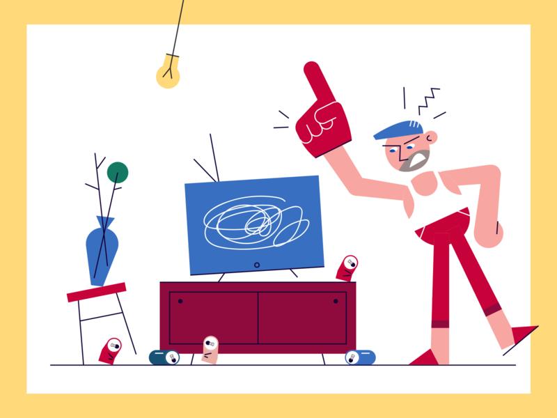Bad connecion mouse human football angry man room interior internet tv russia vector papaton animation connection aleksandrov huliganio team illustration alexandrovi alexandrov huliganio