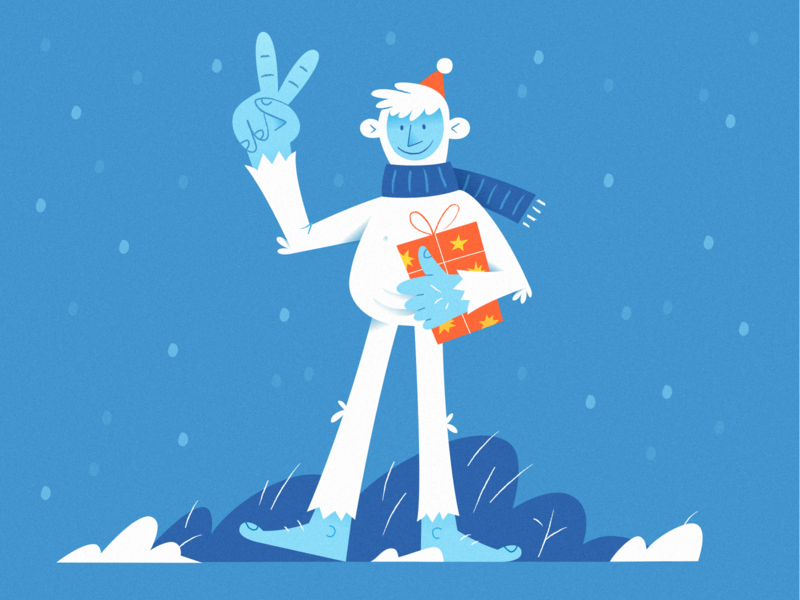 Christmas Yeti snowman bear snow happy 2020 santa blue character vector winter present christmas new year yeti illustration alexandrov huliganio studio huliganio team huliganio aleksandrov