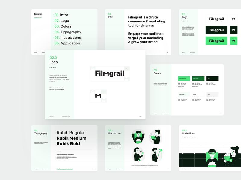 Filmgrail – Branding brandbook cinema illustration branding logo design
