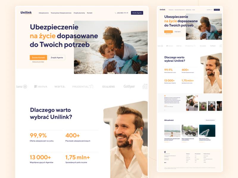 Unilink – Website homepage clean insurance landing page ux ui design web web design