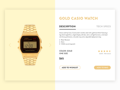 Casio Product Card e-commerce gold watch casio ui card product
