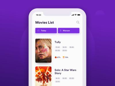 Cinema App – Movies List design ui app list film movie cinema