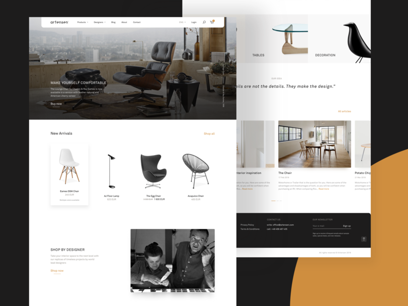 Artensen® – Homepage layout simple web modern design furniture ecommerce web design