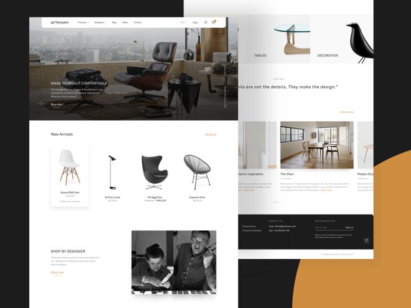 Artensen® – Homepage layout simple web modern design furniture ecommerce web design