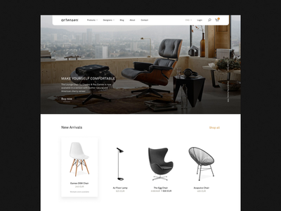 Artensen® – Previews store clean modern layout furniture web design ecommerce web