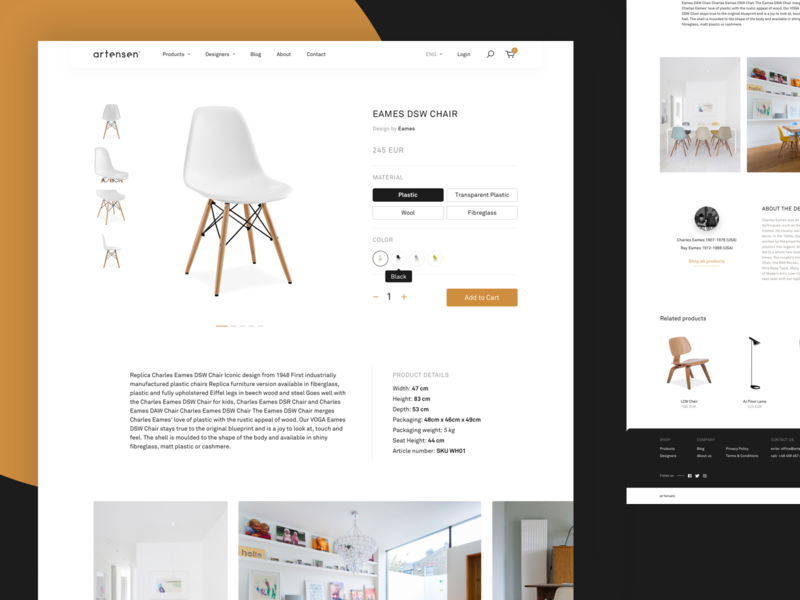 Artensen® – Product View simple layout clean web design chair furniture shop ecommerce web design