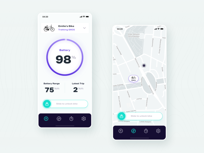 E-Bike App 01 dashboard user inteface ux ui app e-bike
