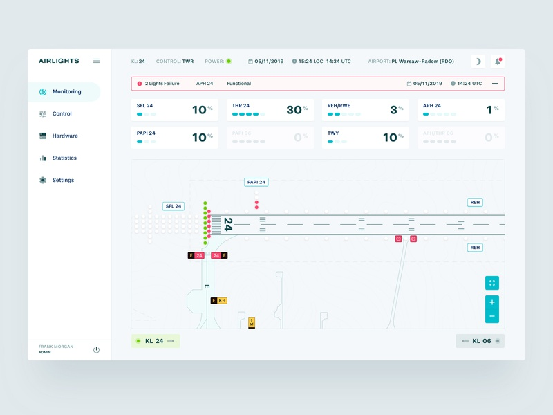 AIRLIGHTS – Monitoring monitoring monitoring dashboard lights airport design ux ui dashboard