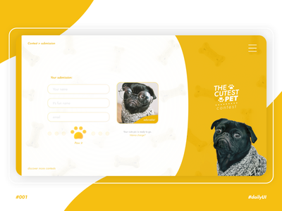The cutest PET - Daily UI n°001 sketch website uidesign contest pet dog submission submit signup