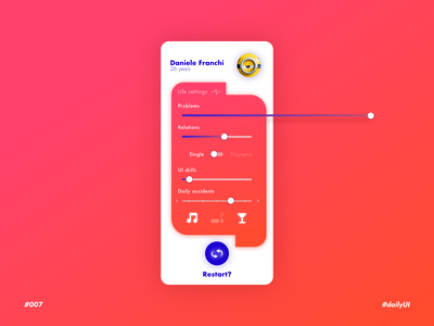 My life settings - Daily UI n°007 fun app application app design app ui ui restart profile red daily 100 challenge dailyuichallenge daily ui dailyui slider settings ui setting