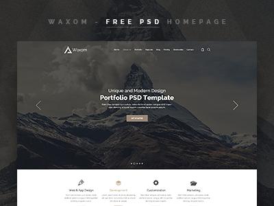 Waxom - Free Homepage PSD Template wordpress universal free template psd template free psd freebies psd web site