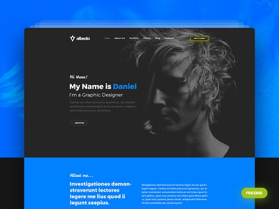 Albedo - Free Personal Onepager PSD Template onepager onepage personal freebies freebie free psd psd template albedo
