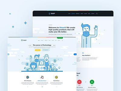 Utouch - App Startup Website PSD Template flat clean business outline website psd template startup app psd template