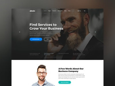 Albedo - Business and Corporate WordPress Theme soft material design modern clean corporate business theme template website user interface wordpress