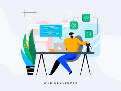 Web Developer Illustration development code cat freelancer web developer flat illustration constructivism style memphis style