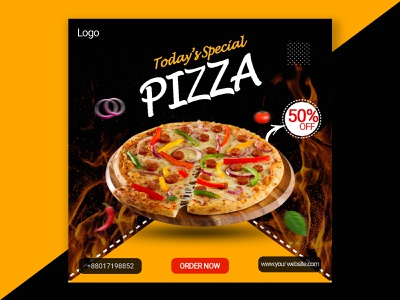 pizza Social Media Banner. spiecy hot brown black internet online beautiful creative modern tasty delicious order now special recepi discount poster banner social media pizza