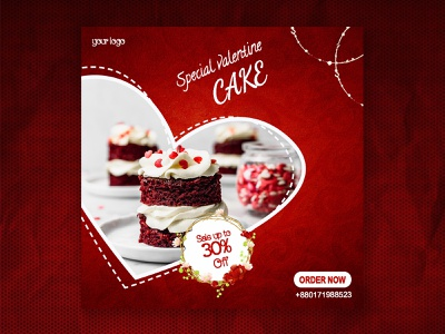 Special Valentine cake social media poster. creative modern mini cake social media instagram facebook internet online banner poster love order now red discount delicious tasty cake valentine