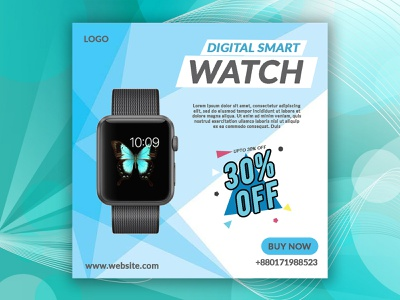 Smart watch social media banner. illustration vector web banner instagram post typography facebook post modern watch gradient social media banner poster design banner design 2021