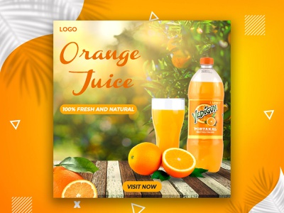 Orange Juice social media banner juice banner typography instagram post facebook post 2021 gradient web banner vector social media delicious online tasty poster discount logo illustration modern creative banner