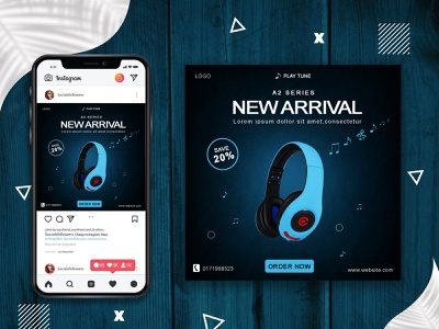Headphone Social media banner. gradient vector typogaphy web banner 2021 banner design poster design social media poster discount blue facebook post instagram post illustrator photoshop poster headphone socialmedia