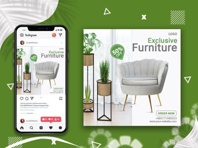 Furniture Social Media Banner poster design typogaphy photoshop discount furniture web banner instagram post simple social media banner social media facebook post illustration 2021 instagram banner order now online modern creative poster