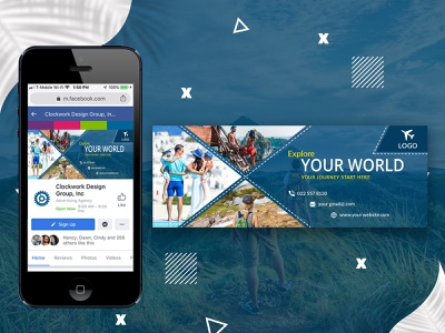 Facebook cover for travel company. vector digital marketing branding travel banner travel cover traveling facebook ads uiux illustrator photoshop gradient facebook post 2021 social media banner web banner instagram post social media banner modern facebook cover photo