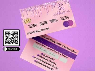 Mockup 8 costume businesscard wig business card design logo visiting card glitter credit card makeup artist business cards