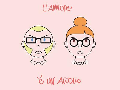 L'amore è un accollo therapy love couple cinism italian illustration