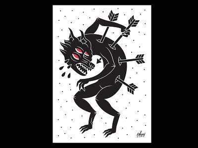 Il Martirio illustration vector vettoriale black wolf beast martyr martitio bestia lupo dolore