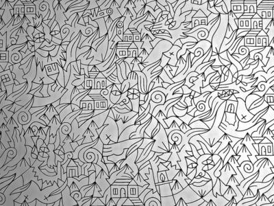 Senza titolo outline pattern houses woods pines violence pain chaos destroy titans black illustration