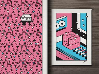 Prints johnny cobalto magic woods pop black pink illustration print