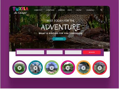 Daily UI 053 Header Navigation traveling tourism searching navigation bar dailyui 053 daily ui 053 adventures chiapas header navigation
