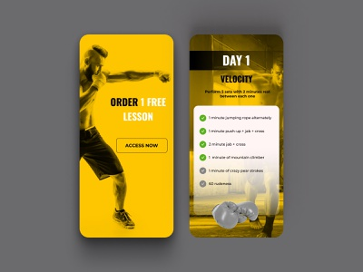 Daily UI 062 Workout of the Day black yellow exercises fitness gym boxing daily ui 062 workout day