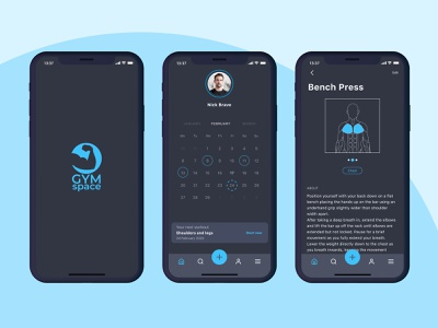 GymSpace - Workout and social mobile app ui mobile ios health app gym design app