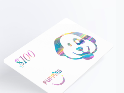 Puppies Gift Card card holographic typography graphic design design branding