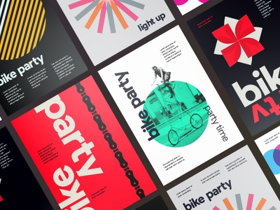 Bike Party Branding packaging logo minimal illustration clean card typography graphic design design branding