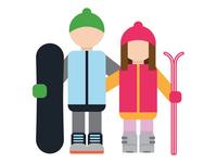 Skier Snowboarder