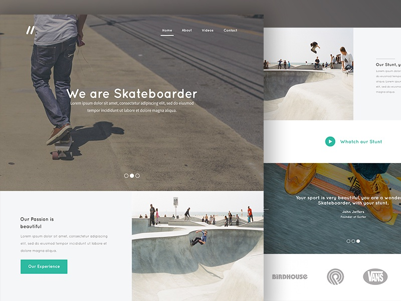 "Landing Page - ""Skateboarder' Concept concept design interface landing page minimal photoshop psd sports ui ux user interface web design"