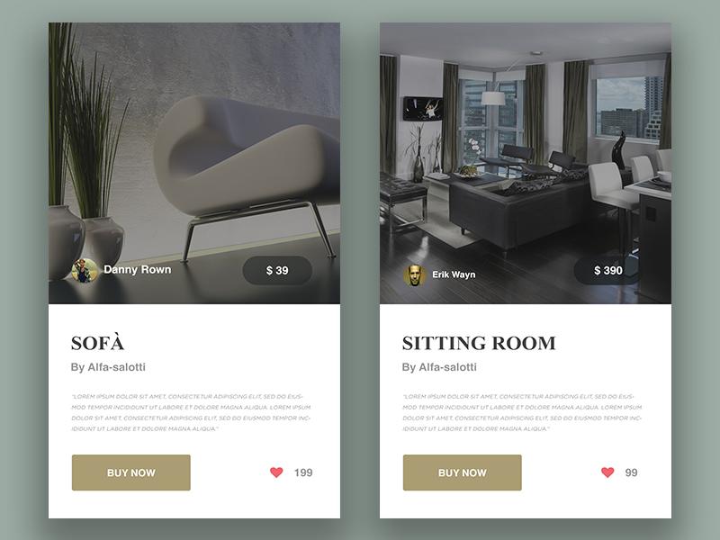Furniture Widget flat mobile modern clean product design user interface ux ui