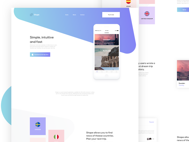 Shapes - Landing App minimal application app design uxdesign uidesign landing page web design ui ux