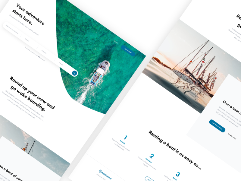 Boatsetter - Homepage Redesign clean minimal homepage website design ui ux