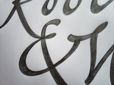 Ampersand Ligature lettering script pencil sketch drawing flourish hand-drawn spencerian cursive calligraphy broad-edge type and lettering