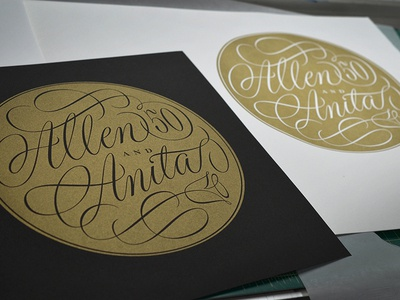 Allen and Anita Letterpress Print lettering script pencil drawing calligraphy flourish spencerian  letterpress print typography type and lettering pointed pen round hand