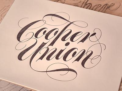 Cooper Union script lettering drawing pencil sketch flourish spencerian hand-drawn pen cursive penmanship calligraphy
