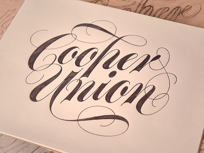 Cooper Union script lettering drawing pencil sketch flourish spencerian hand-drawn pen cursive penmanship calligraphy